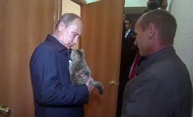 プーチン大統領、子猫を抱く。
