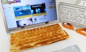 キーボード型のワッフルが作れる焼き型「The Keyboard Waffle Iron」を使ってワッフルやオープンサンドを焼いてみた