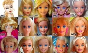 マイナーチェンジを繰り返しながら徐々に進化したバービー人形の顔の変化がわかる比較画像