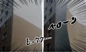 気持ちよく剥がれたけど~~!!割とマジでヤバイ強風で壁がペロン(ポーランド)