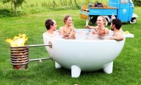 いつでもどこでも薪を燃やすだけでほっこりお風呂を楽しめる即席露天風呂「Dutch Hub」