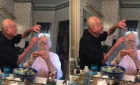 仲良きことは美しきかな。手を怪我したおばあさんの髪をセットするおじいさんのやさしさに絶句
