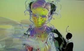 There has been no avatar like Bjork's avatar, which appeared live yesterday in all its strange glory