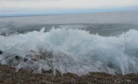 地面を侵食していく生命体のよう。ロシア・バイカル湖の波打ち際で増殖していく氷の波