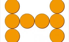 5個の円を移動して四角形をつくれ!移動は滑らせるだけ、持ち上げ禁止!