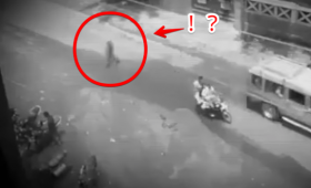 霊なの何なの?どこからともなく現れた人影が道路を横断。走行するトラックをすり抜けてしまうというミステリー