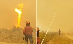 渦を巻き天に昇る火災旋風に直面した消防士たち。消防ホースが巻き上げられ奪還に奮闘する衝撃映像(カナダ)