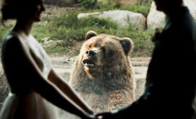 動物園で結婚式を挙げたカップル。クマが積極的に参列、記念写真にぽか~んと写り込む(アメリカ)