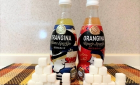 オランジーナに含まれる炭水化物の量を角砂糖で視覚化した結果!