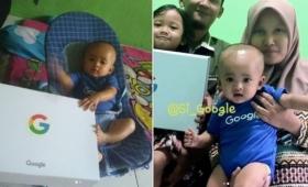 我が子にグーグル(Google)と名付けた夫婦、グーグルからプレゼントをもらうというサプライズ(インドネシア)